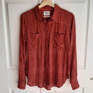 Holding Horses Red Sammie Button Down Shirt Size 4